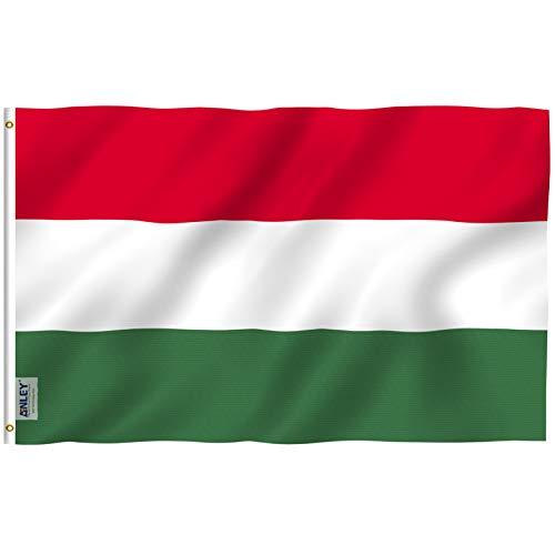 Anley Fly Breeze 3x5 pies Bandera de Hungría - Color Vivo y Resistente a la decoloración UV - Encabezado de Lienzo y Doble Costura - Banderas húngaras Poliéster con Arandelas de latón 3 X 5 FT