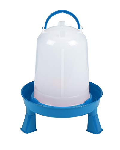 Poultry Waterer with Legs (Blue & White) - Durable Water Container with Carrying Handle for Chickens & Birds (3 Quart) (Item No. DT9872)