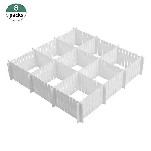 Cozywind 8 Láminas DIY Separadores Cajones, Ajustable Organizador de Cajones para la Ropa Interior Calcetines o Suministros de Oficina (Blanco)