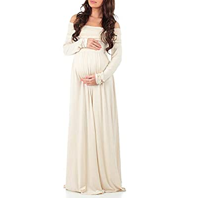 Mother Bee Maternity Off Shoulder Cowl Neck Maternity Dress for Baby Shower or Casual Wear (Toffee, Small)