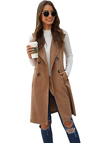 SheIn Women's Double Breasted Long Vest Jacket Casual Sleeveless Pocket Outerwear Longline Plain Khaki Medium