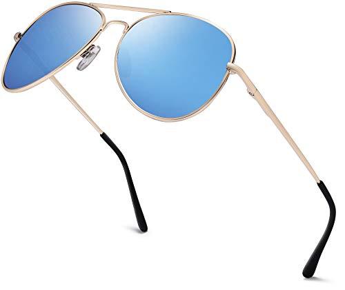Herren Pilotenbrille Verspiegelt | Damen Sonnenbrille | Unisex Brille mit Federschrnier | UV400 Schutz Filter Kat. 3 CE (83 | Rahmen Gold - Glas Blau verspiegelt)