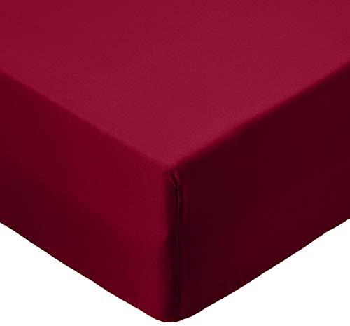 AmazonBasics - Lenzuolo con angoli in microfibra, 90x190x30cm, Bordeaux
