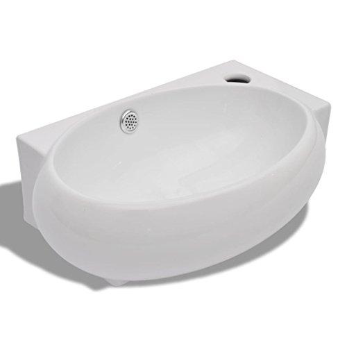 vidaXL Waschbecken Keramik Weiß Überlauf Waschtisch Keramikspülen Waschplatz