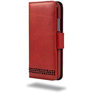 """Ed Hicks Luxury Real Leather iPhone 8 Compact Wallet Case & Card Holder with """"Double Shield"""" Protection & Reversed Closing Tab in Vintage Red with Black Detailing. The Rila:Carsblog"""