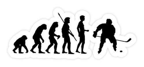 shirt-o-magic Aufkleber Eishockey: Evolution Eishockeyspieler - Sticker - 10x10cm - Weiß