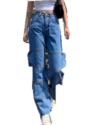 MAHUAOYIXI Vaqueros de mujer ajustados de cintura alta, pantalones anchos para mujer, vaqueros de pierna...