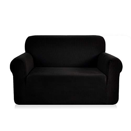 E EBETA Elastisch Sofa Überwürfe Sofabezug, Stretch Sofahusse Sofa Abdeckung Hussen für Sofa, Couch, Sessel 2 Sitzer (Schwarz, 145-185 cm)