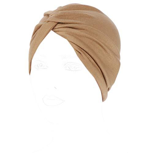 Dongguan NUEEUDD - Gorro elástico para mujer, diseño de nudo, color caramelo sólido, plisado, elástico, otoño, invierno, cálido, indio quimioterapia