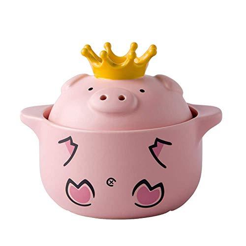 Cazuela de cerámica de Cerdo Lindo con Tapa, Olla de Barro para estofado, Olla, Olla, Olla Caliente, Olla de Gas para el hogar, Mango para Orejas, Rosa, 2,32 Cuartos (Color: Rosa, Tamaño: 2.64Quart)