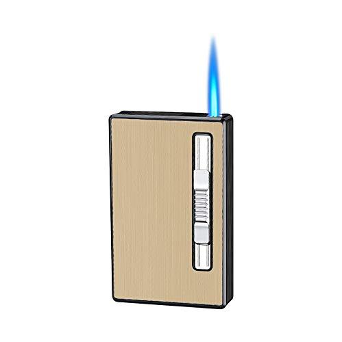 Zigarettenetui mit Feuerzeug Jet Torch Flamme Feuerzeug 100 mm 100s 20 Stück Slim Zigaretten Box nachfüllbar winddicht Gasfeuerzeuge 2 in 1 (Gold)