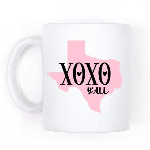 DKISEE Texas Cadeau, XOXO Y'all, State Map Koffie Mok Kerstmis Thanksgiving Festival Vrienden Cadeau 11oz Kleur: wit