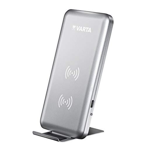 VARTA Fast Wireless Charger mit 10 Watt Schnellladefunktion, Qi-kompatibel, Doppelspulen Technologie, lädt Smartphones horizontal und vertikal