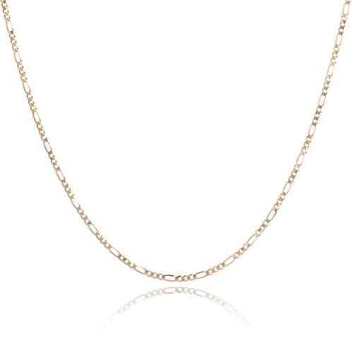 14 Karat 585 Gold Italienisch Flach Figaro Kette Unisex - Breite 2.2 mm - Länge wählbar (45)