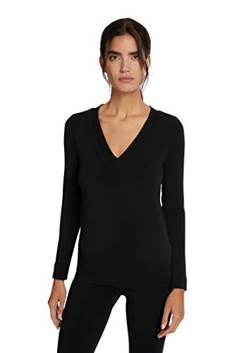 Wolford Aurora Pullover nachhaltiger Viskose Pullover mit V-Ausschnitt (L, Black)