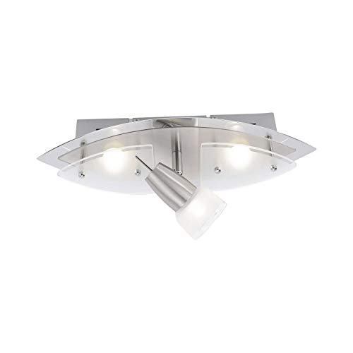 LED plafondspots 3 spots gang plafond lamp woonkamer hallamp (plafondlamp, staal, keukenlamp, 36 cm, 3 x 3 Watt, warm wit)