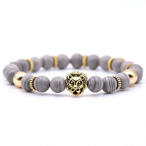 HUSHOUZHUO Leeuw Armband Steen Kralen Armbanden Voor Vrouwen Sieraden Mannen Pulseira Masculina Feminina Mens Buda Pulsera Hombre