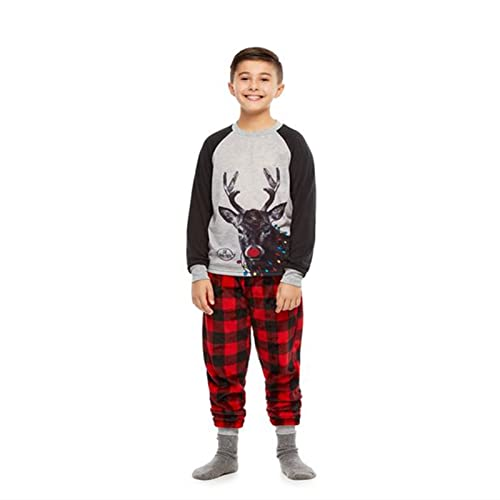 HUIJ Conjunto de Pijamas Familiares navideos Tops con patrn de Renos + Pantalones de Pijama elsticos Largos a Cuadros Traje de Fiesta de Navidad Ropa de Dormir para pap mam nios
