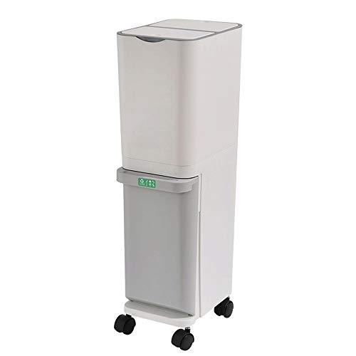 Lwieui Cubos de Basura para baño 32L de Cocina seco y Basura Clasificación húmeda Puede Inicio Sala Cocina Comedor Doble Grande Contenedores de baño (Color : White, Size : 32L)
