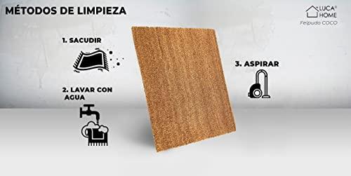 LucaHome - Felpudo de Coco Natural 70x40 con Base Antideslizante, Felpudo de Coco Liso. Felpudo Absorbente Entrada casa, Ideal para Puerta Exterior o Pasillo
