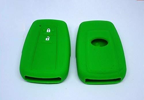 Funda para llave de silicona con 2 botones para Toyota Yaris C HR C-HR Corolla Auris suave protección mando a distancia coche Keyless 7 colores de calidad VERDE