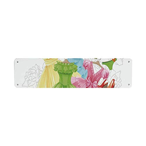 Inga Hakken en jurken Tin bord,Prinses Outfits Bikini Schoenen Garderobe Party Kostuums Meisjes Kamer Decor 10x40 cm