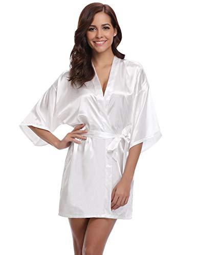 Abollria Kimono Mujer Bata para Satén Mujer Ropa de Dormir Batas Blanco,S