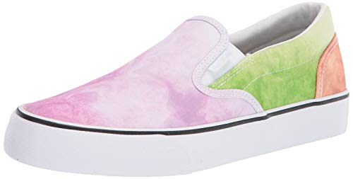 Lugz Womens Clipper 2 Classic Canvas Slip-on Sneaker, Pink/Multi/White, 8.5