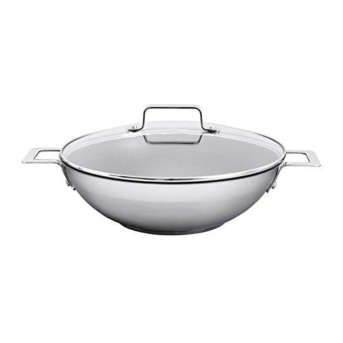 Jamie Oliver - Wok in acciaio INOX con coperchio, 32 cm, colore: argento