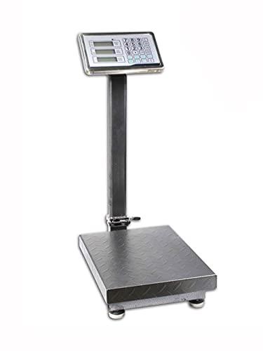 Vetrineinrete® Bilancia industriale con piattaforma con display digitale retroilluminato da terra ricaricabile peso 150 kg divisione 50g con braccio pieghevole X8
