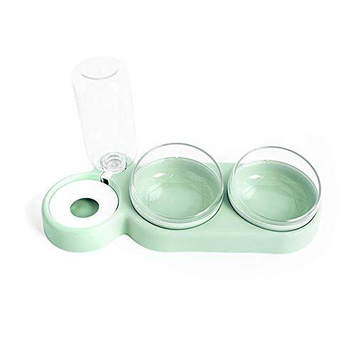 Urijk Katzennäpfe Futternapf und Automatischer Wasserspender Doppelschüssel Futterspender Wassertränker im Set für Haustier Hund Katze (Grün)