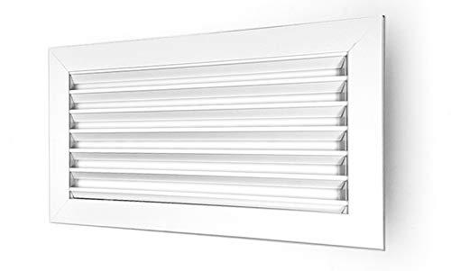 GASMOBE Rejilla ventilacion retorno simple aluminio deflexion horizontal aire acondicionado MEDIDAS INTERNAS (600X150, BLANCO)