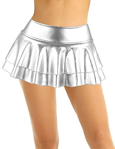 Mufeng Minifalda de Cuero Brillante para Mujer Falda Corta con Volantes de Cintura Baja Minifalda de Color Sólido para Danza Plateado XXL