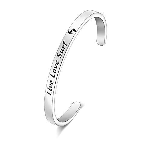 WSNANG Surfer Bracelet Surfing Lover Gifts Live Love Surf Jewelry for Ocean Waves Lover Gifts Surfer Birthday Gifts (Bracelet)