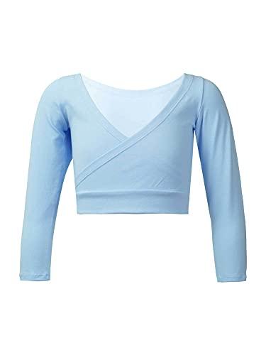 IEFIEL Top Corto Manga Larga de Danza Ballet para Niña Chaqueta Cruzada de Danza Moderna Disfraz de Bailarina Cardigan Elástico de Yoga Gimnasia Azul 3-4 años