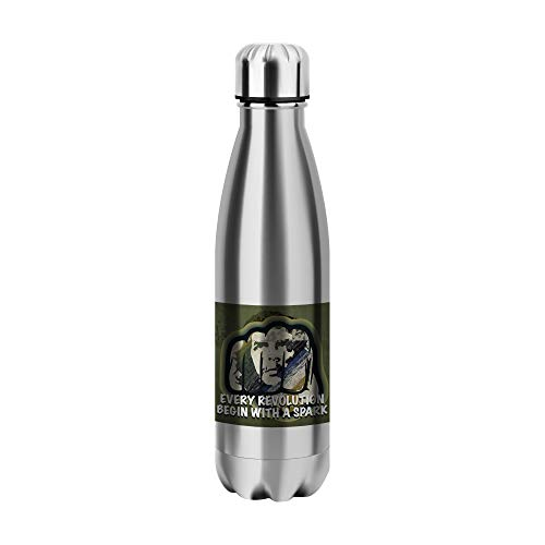 Desconocido Every Revolution Begin with Water Bottle CO266 Botella de Agua Stainless Steel Funny Insulated 500ml Thermos For Hot and Cold Sports Gym Drink Flask