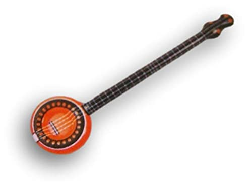 Inflatable Banjo for Decor, Toy, and More - 37'' Long Inflated (Orange)