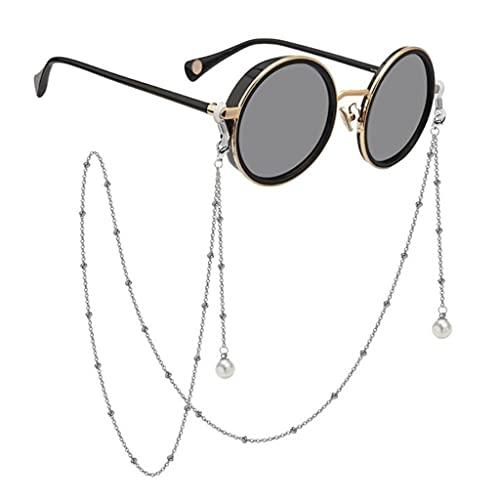 YFQHDD Imitación Perla Colgante Gafas de Sol Cadenas Cadenas de Cuentas Mujeres cordón Gafas Accesorios sostienen Correas Cordones (Color : Silver, Size : Length-70CM)