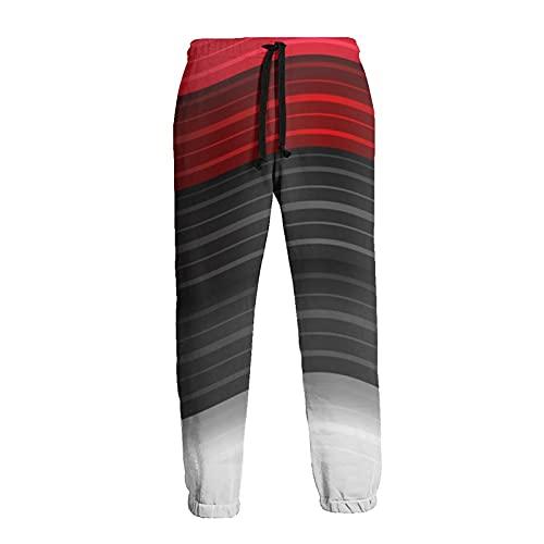 Olverz Pantalones de chándal para hombres de rayas onduladas cintura elástica pantalones deportivos duraderos