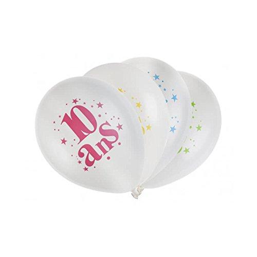 SANTEX 5226-10, Sachet de 8 ballons latex 23cm Joyeux Anniversaire festif 10 ans