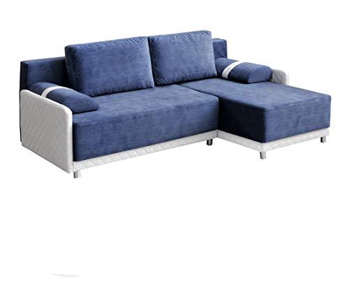 mb-moebel Ecksofa Sofa Eckcouch Couch mit Schlaffunktion und Bettkasten Ottomane L-Form Schlafsofa Bettsofa Polstergarnitur - Indiana (Ecksofa Rechts, Blau)