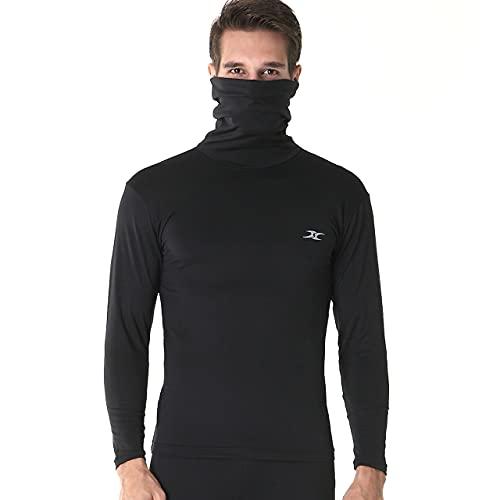 Hom T-shirt thermique à col roulé et manches longues pour homme, noir - Noir - X-Large