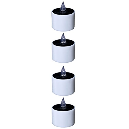 4pcs Flameless Solar Light Small Electric Candle with Amber Yellow Flickering LED Plastic Candle for Holiday Decoration