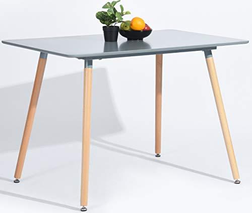 DORAFAIR Rechteckig Esszimmertisch Küchentisch Wohnzimmer Tisch, Skandinavisch Esstisch MDF, Grau