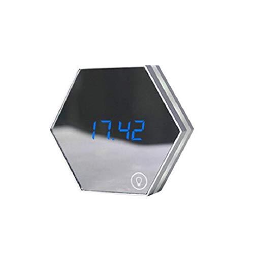 HiXB Reloj Despertador Digital Superficie del Espejo Pantalla LED Grande Atenuador Posponer Temporizador de sueño Diseño Creativo,Silver