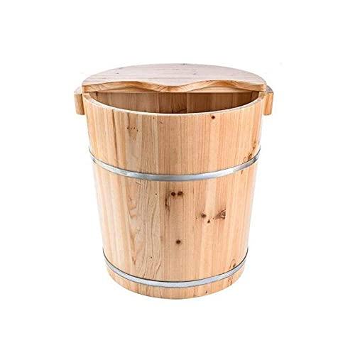 SHSM Cuenca de Baño de 20 cm de Madera, con Tapa con Baño de Pie de Masajeaje, Bañera de Pedicura de Masaje de Spa en Salón de Belleza, Reduce la Fatiga para Los Ancianos Cuidado d