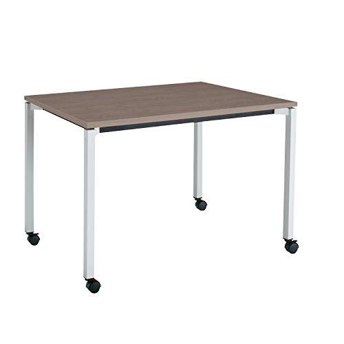 コクヨ ミーティングテーブル JUTO MT-JTK127S81MG5-CN 角形天板 4本脚 角脚 スクエアコーナー 幅120×奥行75cm 天板アッシュブラウン/脚フラットシルバー キャスター付