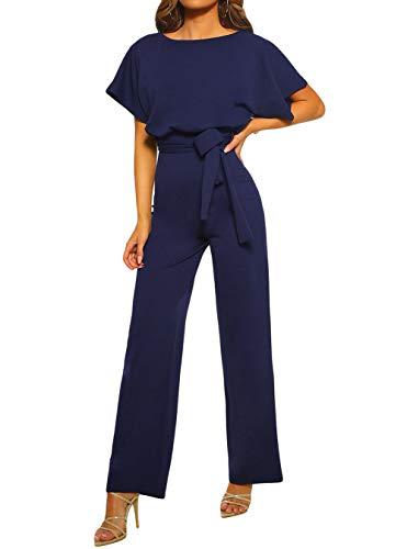 TOUVIE Damen Jumpsuit Elegant Lang Weites Bein Hohe Taille Kurzarm Overalls mit Gürtel Blau L