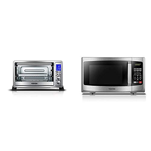 Toshiba AC25CEW-SS Digital Toaster Oven & EM925A5A-SS Microwave Oven with Sound On/Off ECO Mode and LED Lighting, 0.9 Cu. ft/900W, Stainless Steel