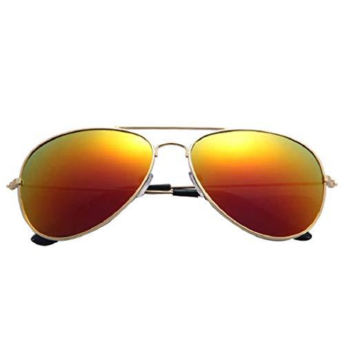 LUCKYCAT Retro Metall Polarisiert Runde Sonnenbrille Damen Herren Piloten-Sonnenbrille Verspiegelt UV-400 Piloten-Brille Flieger-Brille Farbvariation Unisex